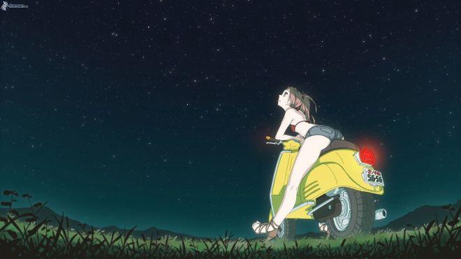 chica-anime,-mujer-en-una-motocicleta,-noche,-universo-175239