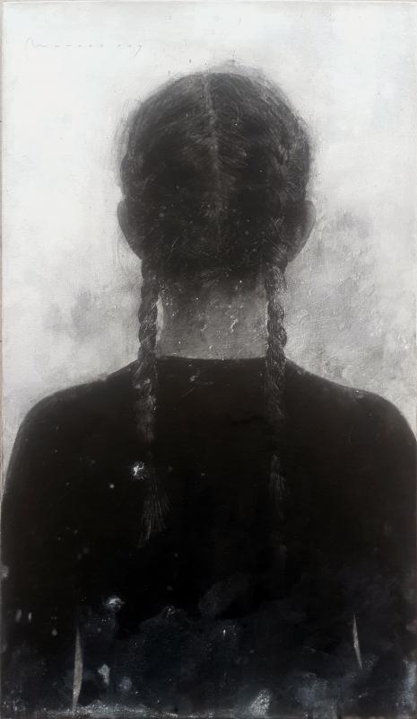 Niña de espaldas, Carboncillo, tinta y aguada sobre lienzo, 72x42cm